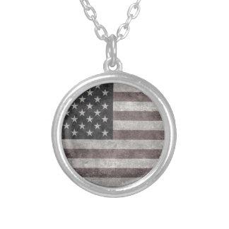 米国は、キャンバスのヴィンテージのレトロの米国旗印を付けます シルバープレートネックレス