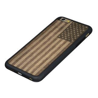 米国は、キャンバスのtextueとのヴィンテージのレトロのスタイル印を付けます CarvedメープルiPhone 6 plusバンパーケース