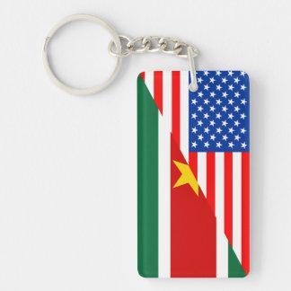 米国アメリカスリナムの半分の旗米国の計算 キーホルダー