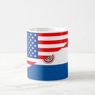 米国アメリカパラグアイの半分の旗米国の計算 コーヒーマグカップ