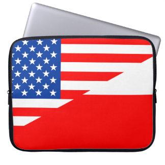 米国アメリカポーランドの半分の旗米国の国 ラップトップスリーブ