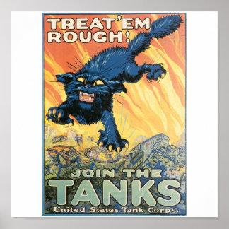 米国タンク隊。 1918年頃 ポスター