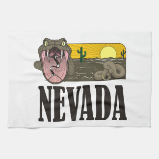 米国ヘビのネバダ州: ガラガラヘビおよび砂漠 キッチンタオル