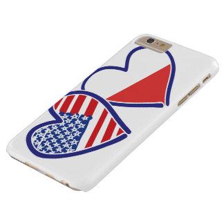 米国ポーランドの旗のハート BARELY THERE iPhone 6 PLUS ケース
