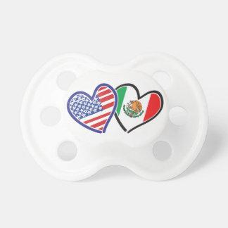 米国メキシコのハートの旗 おしゃぶり