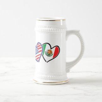 米国メキシコのハートの旗 ビールジョッキ