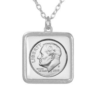米国ルーズベルトのダイム シルバープレートネックレス