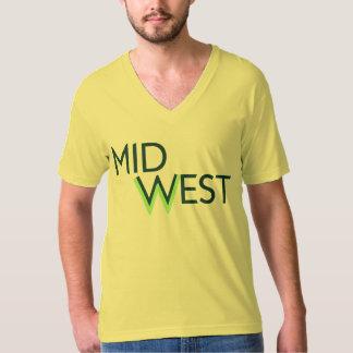 米国中西部の男性V首: 青緑 Tシャツ