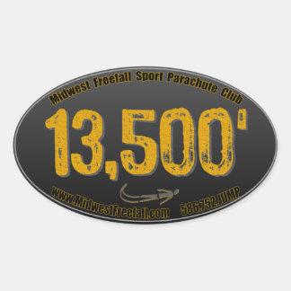 米国中西部の自由落下の13-5年のステッカー、黒及び金ゴールド 楕円形シール