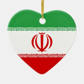 米国及びイランの旗のハートのオーナメント セラミックオーナメント