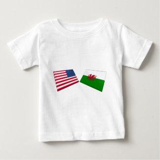 米国及びウェールズの旗 ベビーTシャツ