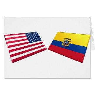 米国及びエクアドルの旗 カード