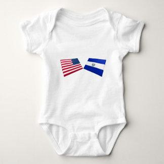 米国及びエルサルバドルの旗 ベビーボディスーツ