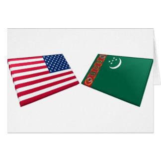 米国及びタキマンニスタンの旗 カード