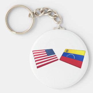 米国及びベネズエラの旗 キーホルダー