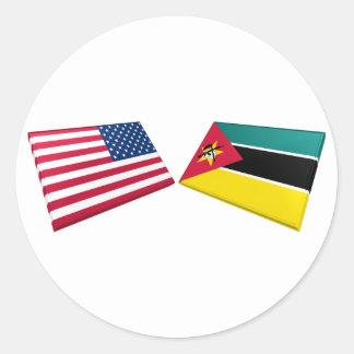 米国及びモザンビークの旗 ラウンドシール