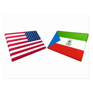 米国及び赤道ギニアの旗 ポストカード