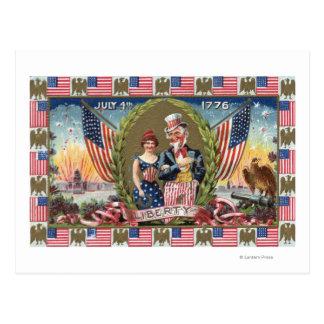 米国市民およびLiberty女性 ポストカード
