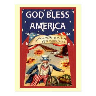 米国市民の神はアメリカを賛美します ポストカード