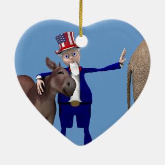 米国市民ろばを愛します セラミックオーナメント