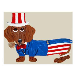 米国市民スーツのダックスフント ポストカード