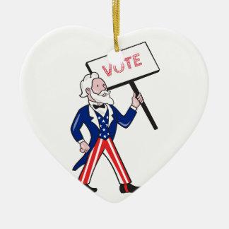 米国市民プラカードの投票永続的な漫画 セラミックオーナメント