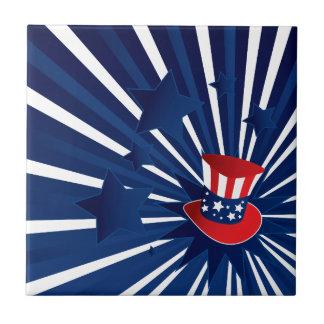 米国市民帽子および星 タイル