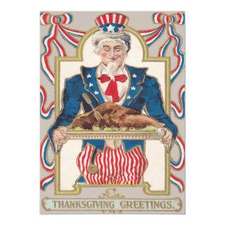 米国市民感謝祭トルコ 12.7 X 17.8 インビテーションカード