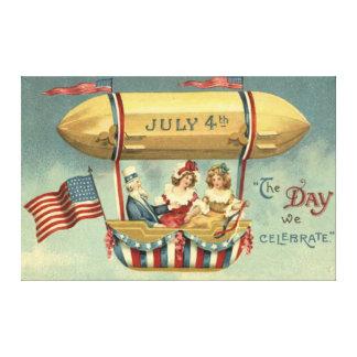米国市民米国の旗のツェッペリン型飛行船の気球 キャンバスプリント