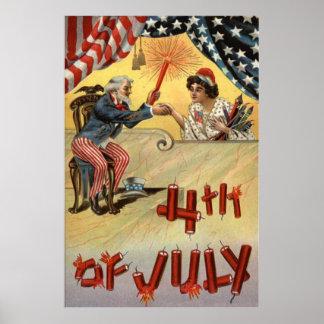 米国市民花火の爆竹米国の旗 ポスター