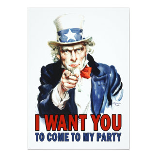米国市民-私はほしいと思います-パーティの招待状 カード