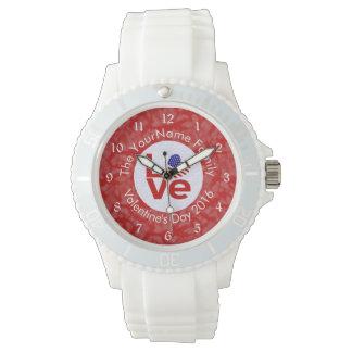 米国愛旗の赤と白の背景 腕時計