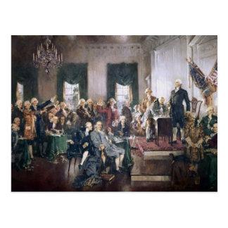 米国憲法に署名している創始者 ポストカード