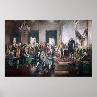 米国憲法のプリントの署名 ポスター