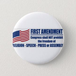 米国憲法修正第一項 5.7CM 丸型バッジ