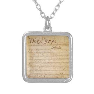 米国憲法 シルバープレートネックレス