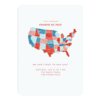 米国手描きの7月4日の招待状 カード