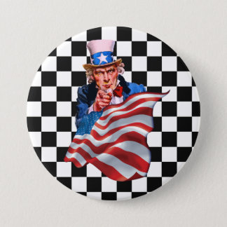 米国政府および米国旗 7.6CM 丸型バッジ