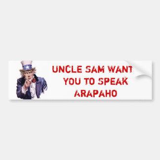 米国政府アラパホー語を話してほしいです バンパーステッカー