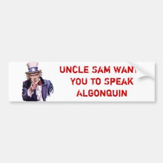 米国政府Algonquinを話してほしいです バンパーステッカー