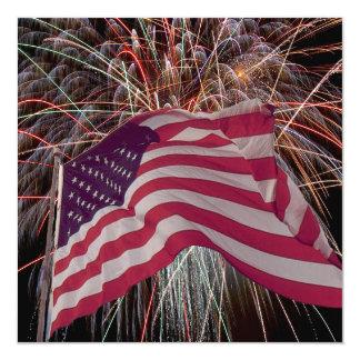 米国旗および花火 カード