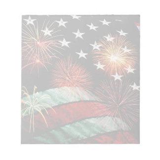 米国旗および花火 ノートパッド