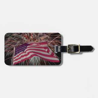 米国旗および花火 ラゲッジタグ