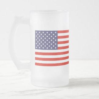 米国旗が付いているガラスビールのジョッキ フロストグラスビールジョッキ