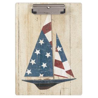 米国旗が付いているヨット クリップボード