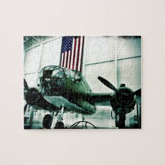 米国旗が付いている愛国心が強い軍隊WWIIの飛行機 ジグソーパズル