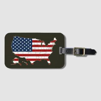米国旗が付いている米国の地図 ラゲッジタグ