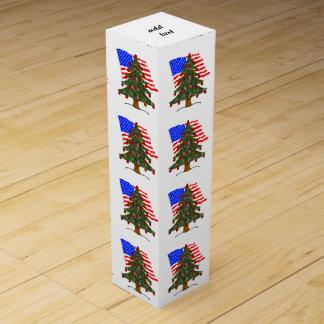 米国旗が付いている緑のカムフラージュのクリスマスツリー ワインギフトボックス