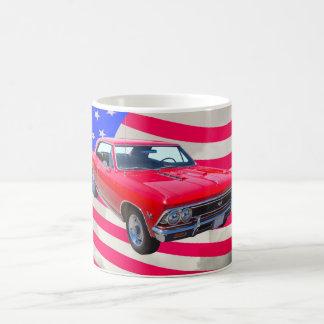 米国旗が付いているChevy Chevelle SS 396 コーヒーマグカップ