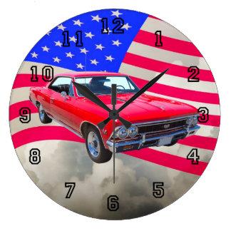 米国旗が付いているChevy Chevelle SS 396 ラージ壁時計